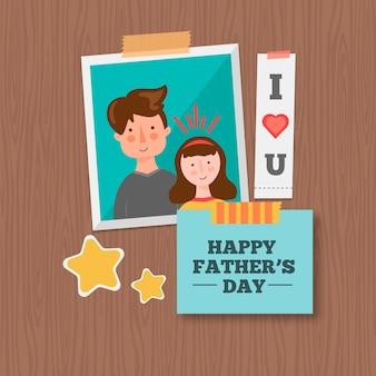 Fondo de día del padre con foto y recuerdos
