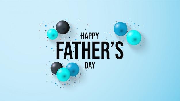 Fondo del día del padre con la ilustración de un globo de globo 3d sobre un fondo azul.