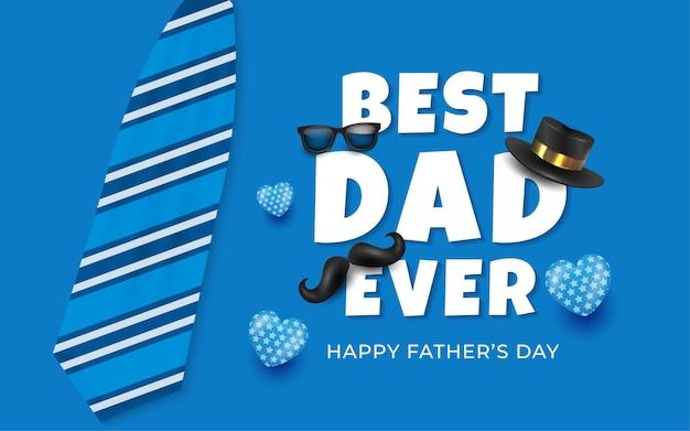 Fondo del día del padre con ilustraciones de globo azul y corbata en azul