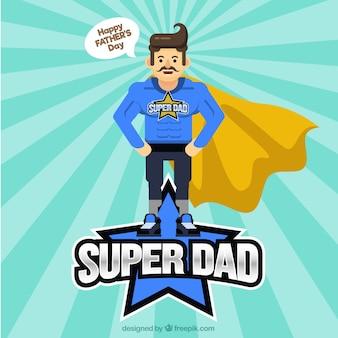 Fondo de día del padre con super héroe en estilo plano