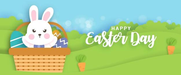 Fondo del día de pascua y pancarta con lindos rabinos y huevos de pascua.