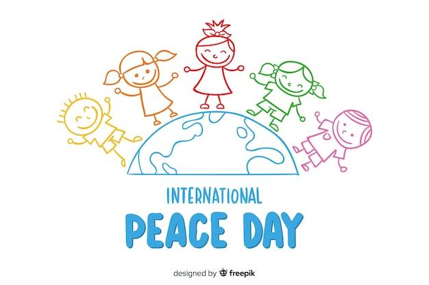 Fondo del día de la paz dibujado a mano