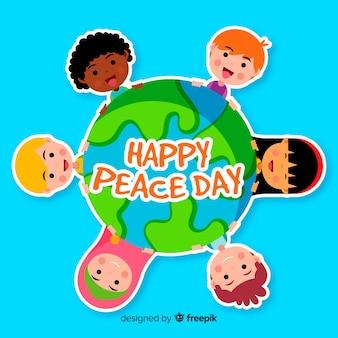 Fondo del día de la paz con niños cogiéndose las manos alrededor de globo