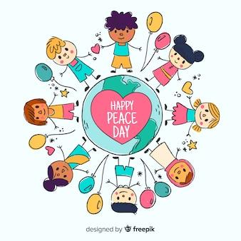 Fondo del día de la paz con niños dibujado a mano