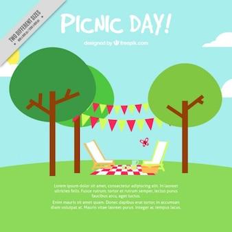 Fondo de día de picnic en diseño plano