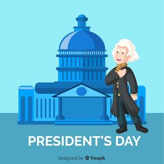 Fondo del día del presidente en diseño plano