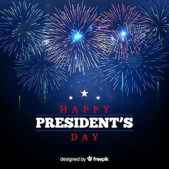 Fondo día del presidente fuegos artificiales