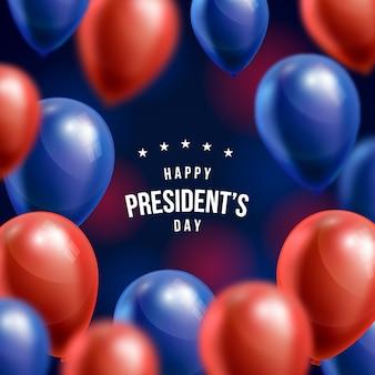 Fondo del día del presidente con globos realistas