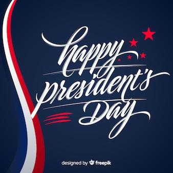 Fondo día del presidente lettering