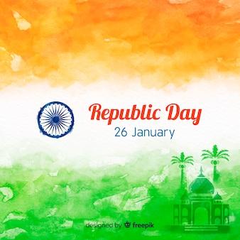 Fondo del día de la república de india en acuarela