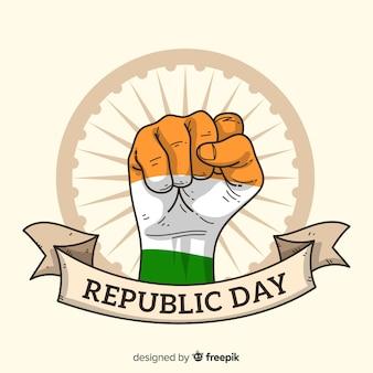 Fondo del día de la república de india dibujado a mano