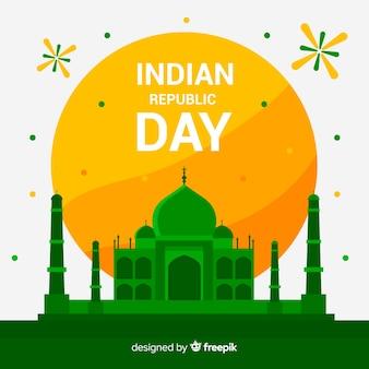Fondo del día de la república de india en diseño plano
