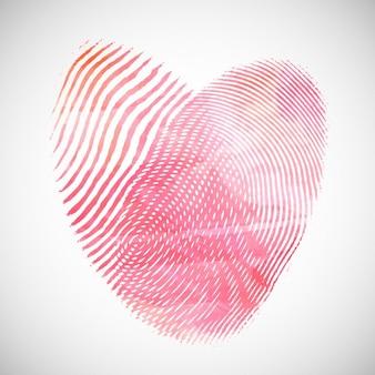Fondo del día de san valentín con la acuarela en forma de corazón de huellas dactilares