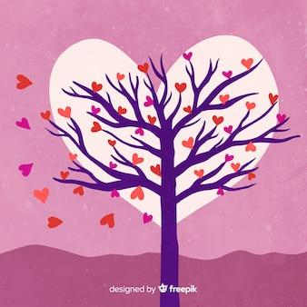 Fondo día de san valentín árbol