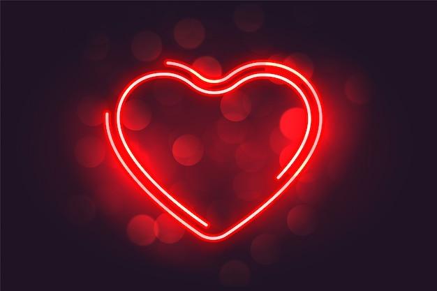 Fondo de día de san valentín de corazón rojo neón encantador