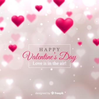 Fondo día de san valentín corazones borrosos