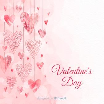Fondo día de san valentín corazones colgando