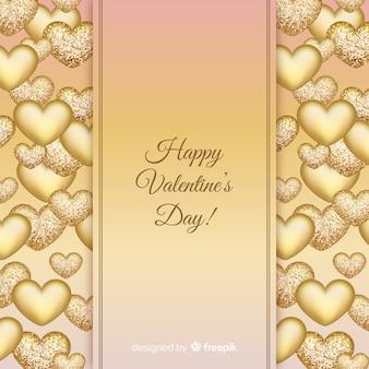 Fondo día san valentín corazones dorados