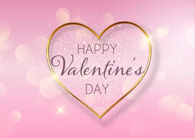 Fondo del día de san valentín con diseño de corazón dorado y luces bokeh
