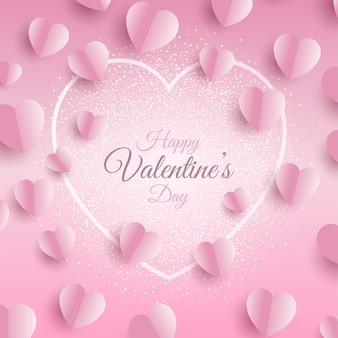 Fondo del día de san valentín con diseño de corazones doblados