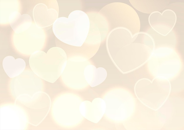 Fondo del día de san valentín con diseño de luces doradas bokeh