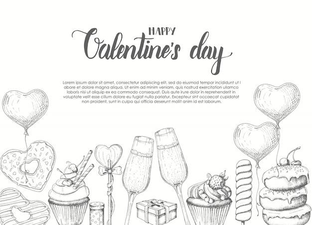 Fondo del día de san valentín con doodle de objetos dibujados a mano en estilo boceto-piruleta, donut glaseado, copa de champán, cajas de regalo, pastel y cupcake. feliz día de san valentín - frase de caligrafía de letras