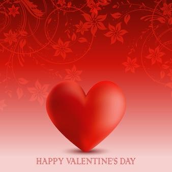 Fondo del día de san valentín con flores y corazón