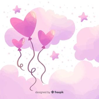Fondo día de san valentín globos en el cielo