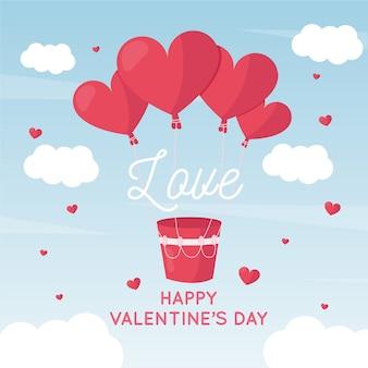 Fondo día de san valentín globos de corazón de aire caliente