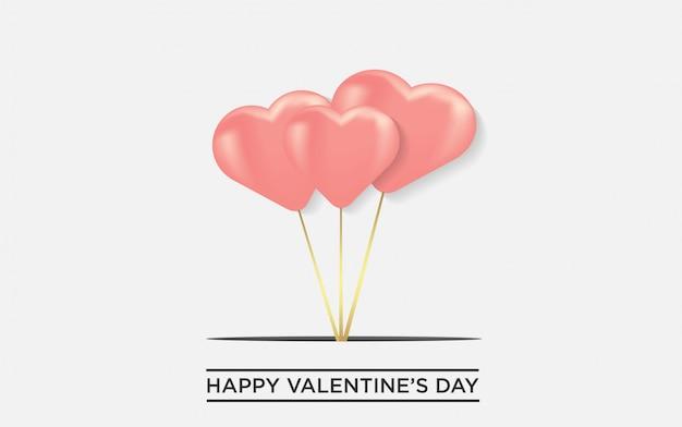 Fondo del día de san valentín globos en forma de corazón romántico.