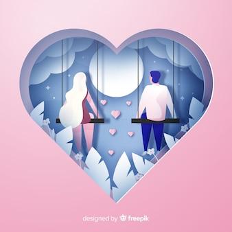 Fondo día de san valentín pareja recortada