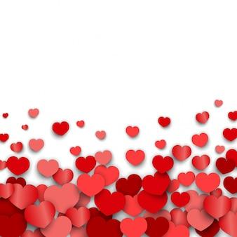 Fondo del día de san valentín con pegatinas de corazón dispersos