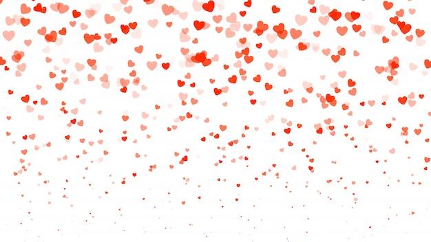 Fondo del día de san valentín del tono medio del corazón. corazones rojos sobre blanco