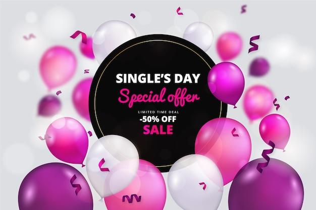 Fondo del día de solteros con coloridos globos realistas