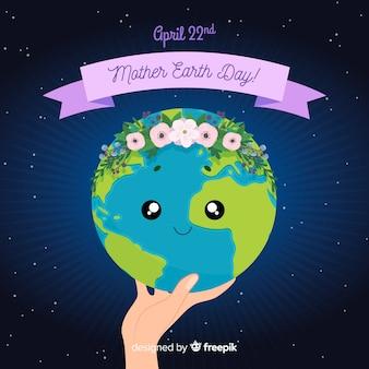 Fondo del día de la tierra dibujado a mano