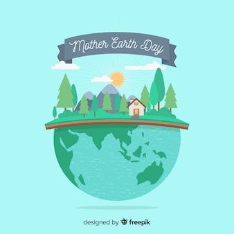 Fondo del día de la tierra en diseño plano