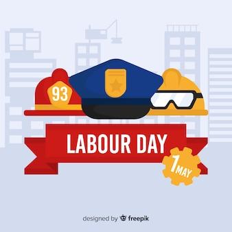 Fondo del día del trabajador en diseño plano