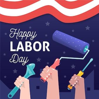Fondo de día del trabajo dibujado a mano con trabajadores