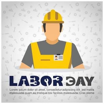 Fondo del día del trabajo de obrero con casco