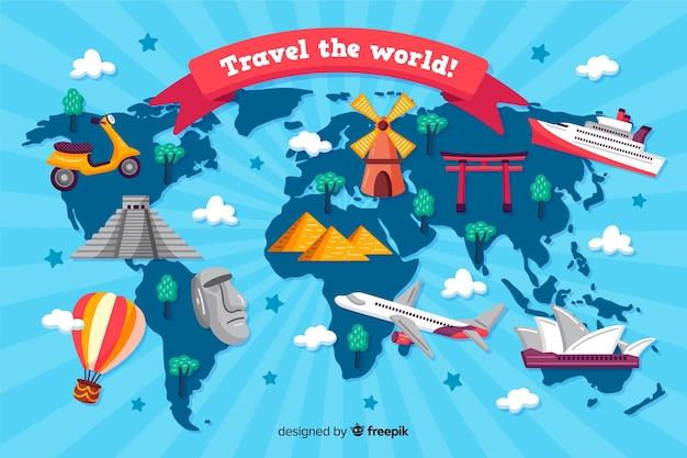 Fondo de día de turismo dibujado a mano
