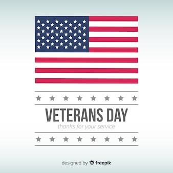 Fondo día del veterano bandera plana