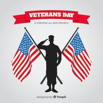 Fondo de día de veteranos con bandera de eeuu