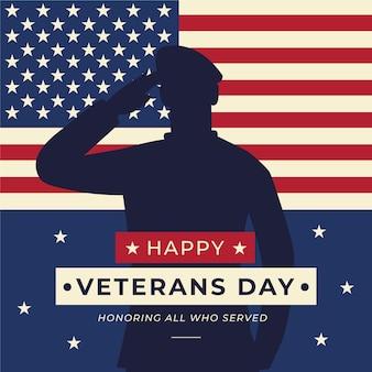 Fondo del día de los veteranos en diseño plano