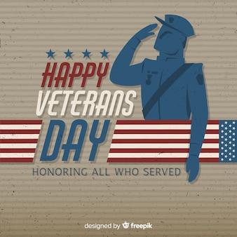Fondo de día de los veteranos con soldado y bandera