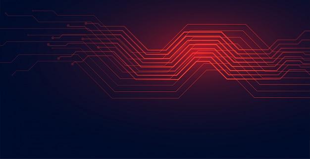 Fondo de diagrama de tecnología de líneas de circuito en tono rojo