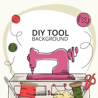 Fondo dibujado a mano acerca de las herramientas de costura