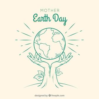 Fondo dibujado a mano del día de la madre tierra