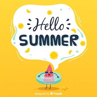 Fondo dibujado de bienvenida al verano