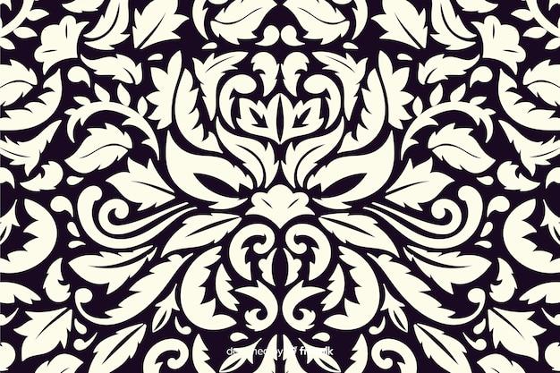 Fondo dibujado decorativo de estilo damasco