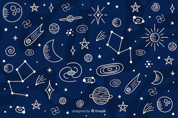 Fondo dibujado del espacio exterior
